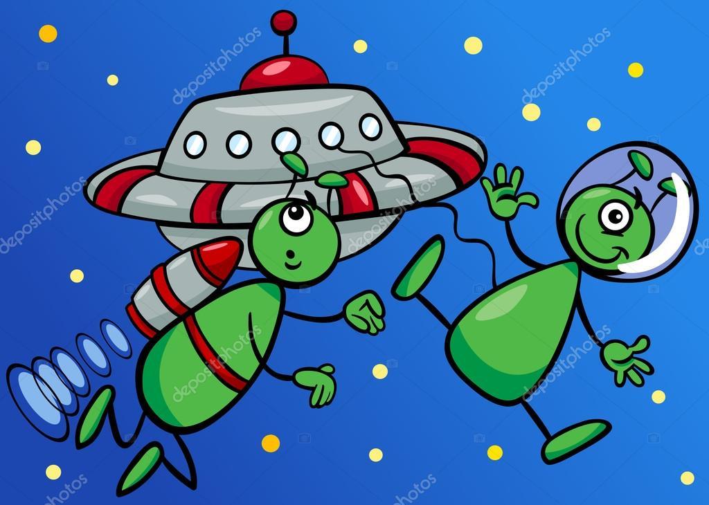 Extraterrestres en la ilustraci n de dibujos animados del - Dibujos infantiles del espacio ...