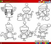 Christmas themes children coloring page — Vetorial Stock