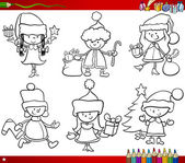 Christmas themes children coloring page — Vector de stock