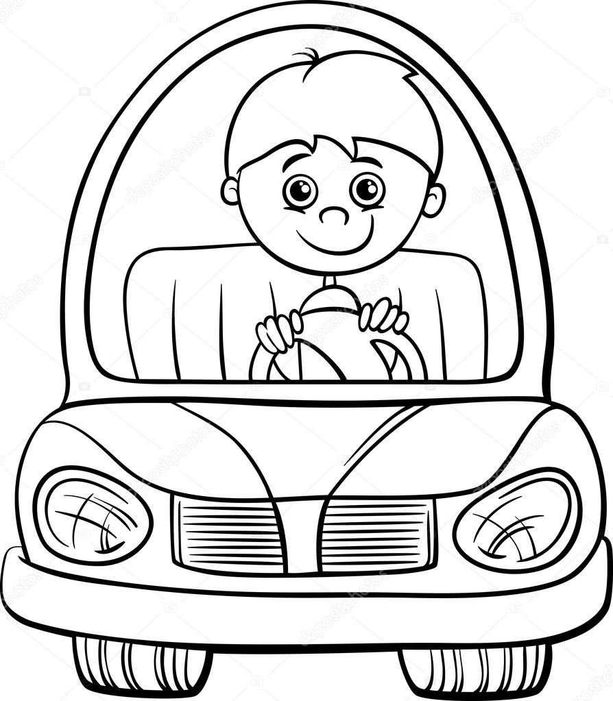 boy in car cartoon coloring page  u2014 stock vector  56054435