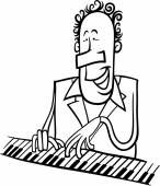 Pianist cartoon coloring page — Stock Vector