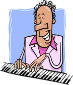 Jazz pianist cartoon illustration — Stock Vector
