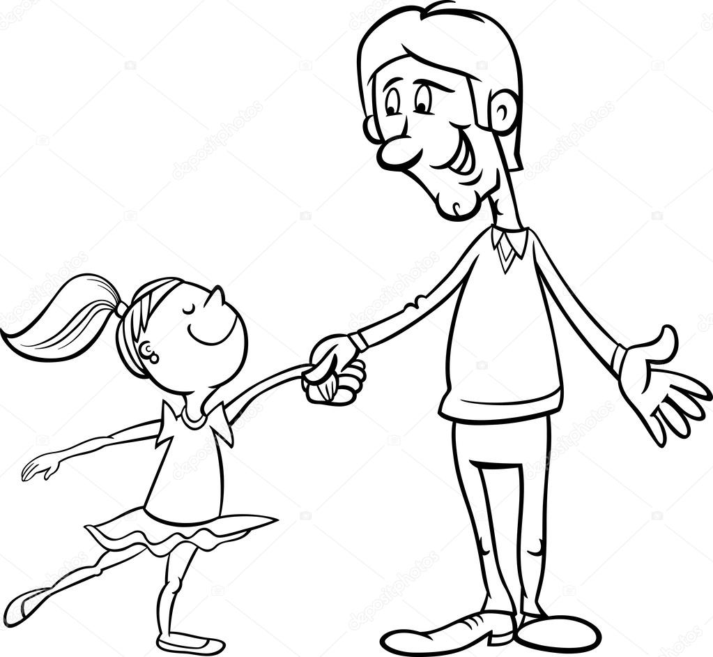 Father and daughter coloring page — Stock Vector ...