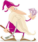 Dwarf with diamond cartoon illustration — Stock Vector