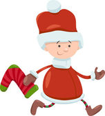 Kid santa claus christmas cartoon — Stock vektor
