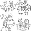 Couples set cartoon coloring page — Stock Vector #57986341