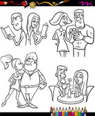 Couples set cartoon coloring page — Stock Vector