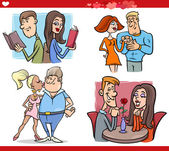 Valentine couples in love cartoon set — Stockvektor