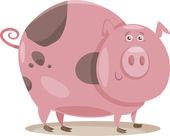 Pig farm animal cartoon illustration — Stock Vector