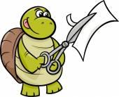 Turtle with scissors cartoon illustration — Stock vektor