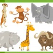 Постер, плакат: Safari animals cartoon set illustration