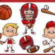 Boy with sport equipment cartoon set — Stock Vector #58821505