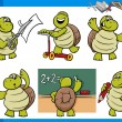 Turtle character student cartoon set — Stock Vector #58821645