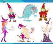 Cartoon Fantasy Characters Set — Stock Vector