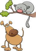 Dog and cat cartoon illustration — Stock Vector