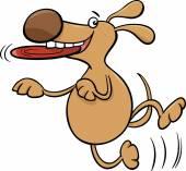 Dog with frisbee cartoon illustration — ストックベクタ