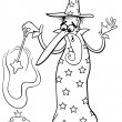 Wizard fantasy cartoon coloring page — Stock Vector #59299619