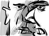 Angry arguing men sketch drawing — Stock vektor