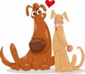 собаки в любви иллюстрации шаржа — Cтоковый вектор