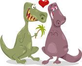 Dinos in love cartoon illustration — Stock Vector