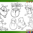 Easter cartoons for coloring book — Stock Vector #61566191