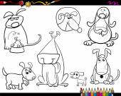 Dogs set cartoon coloring page — Stock Vector