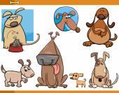 Dogs characters cartoon set — Stock Vector