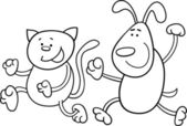 Cat and dog playing tag coloring page — Stock Vector