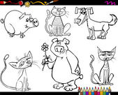 Animals set cartoon coloring page — Stock Vector
