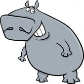 Hippopotamus cartoon illustartion — Stock Vector