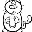 Cat drink milk coloring page — Stock Vector #63586381