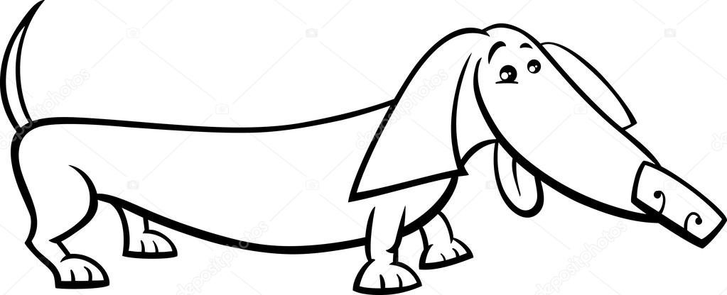 Teckel hond cartoon kleurplaat — Stockvector © izakowski ...