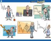 Business cartoon crisis concepts set — Stock Vector