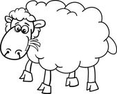 Sheep farm animal coloring page — Stock Vector