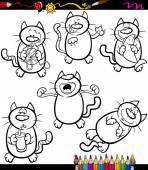 Cats set cartoon coloring book — Stock Vector