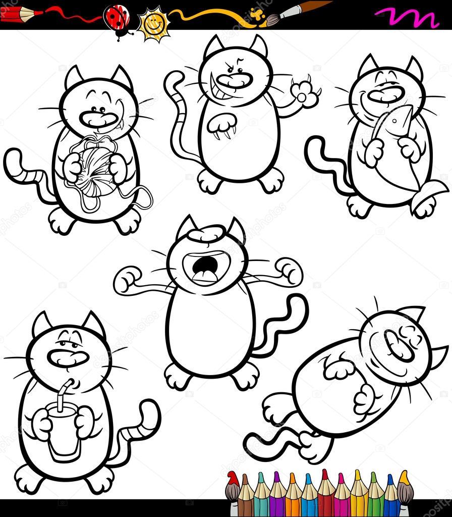 Colorear libro o ilustración de la página de dibujos animados de blanco y negro conjunto de gatos graciosos\u2014 Vector de izakowski