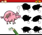 Education shadows game cartoon — Stock Vector