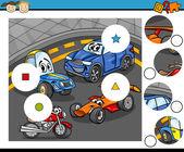 Match pieces game cartoon — Stock Vector