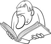 Reader cartoon coloring page — Vettoriale Stock