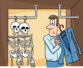 Skeletons in the closet cartoon — Stock Photo