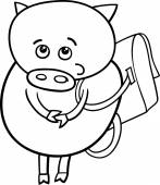 Piglet with satchel coloring page — Stock Vector
