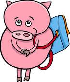 Piglet with satchel cartoon illustration — Stock Vector