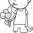 Boy with ice cream coloring page — Stock Vector #69227219