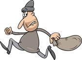 Running thief cartoon illustration — Stock Vector