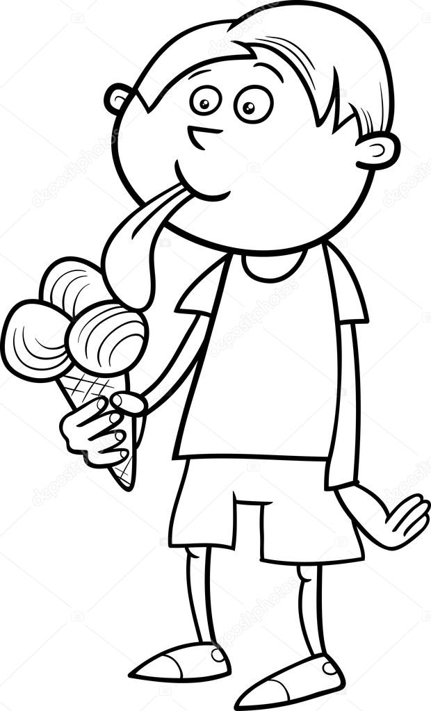 Ice Cream Coloring Page Stock Illustration Image Of