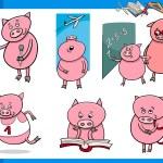 Piglet character student cartoon set — Stock Vector #70809013