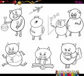 Piglet student cartoon coloring page — Stock Vector