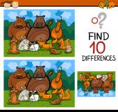 Finding differences game cartoon — Stock Vector