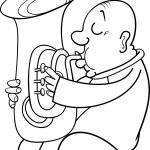 Постер, плакат: Trumpeter musician coloring page