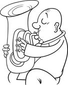 Trumpeter musician coloring page — Stock Vector